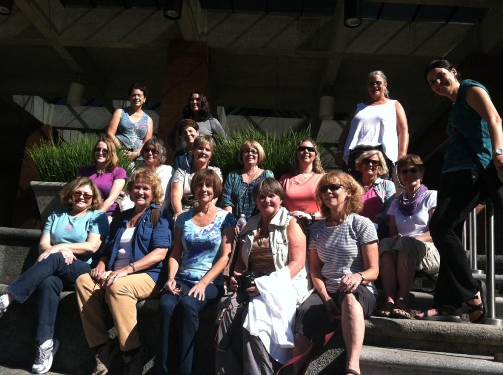 The Guatemala travelers: ront row L to R- Colleen Blanchfield( Detroit, MI) Sheila Cook (Columbia, SC) Sue Garcia (Erie, CO), Karen Rawley (Weavers Way, PA), Lynn McClenahan (Portland, OR). Middle Row (L-R): Lauren McCarthy (Minneapolis, MN), Sue Fernbach (Asheville, NC) , Cindy Badocious (OH), Meg Sears (Bowling Green, OH), Cristina Ramey (Atlanta, GA), Rosemary McGee (Abbington, PA), Caarol Huckabee (Danbury, CT), Kira Walker (Atlanta, GA- trip leader). Back row: Barbara Myers (Newton, CT), Stephanie Sawyer (CA), Erica Crawford (Santa Cruz, CA).