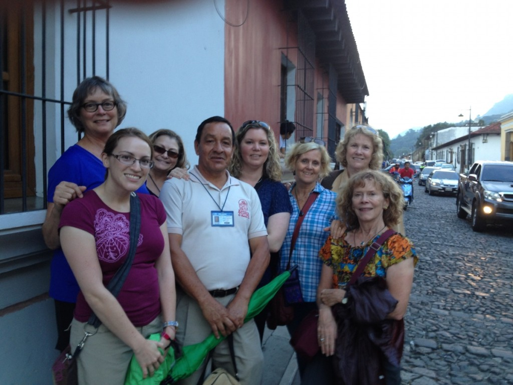 Travelers on last weekend with their guide - Manuel (center). Back row (L-R): Sue Fernbach, Colleen Blanchfield, Cristina Ramey, Rosemary McGee, Sheila Cook Front row: Lauren McCarthy, Manuel and Lynn McClenahan