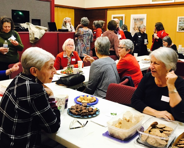 The three Weavers Way chapters in Philadelphia gathered at the Chestnut Hill library to share tea and desserts and socialize while watching the webcast. It was a great chance for the chapters to reconnect and celebrate together!