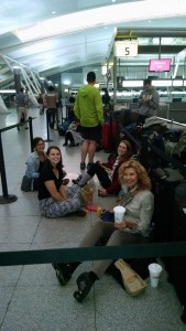 Peace Corps volunteers waiting for our flight at Newark airport